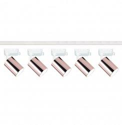 ZESTAW SZYNOPRZEWODU Z REFLEKTORKAMI BIAŁA SZYNA Z MIEDZIANYMI OPRAWAMI (2m szyny + 5szt. reflektorów) SYSTEM SZYNOWY 1-FAZOWY