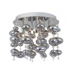 CHROMOWANY PLAFON SUFITOWY SZKLANE KULE ZUMA LINE ELLI RLX92175-5R NOWOCZESNA LAMPA SUFITOWA CHROM