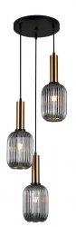 NOWOCZESNA SZKLANA LAMPA WISZĄCA ITALUX ANTIOLA PND-5588-3AM-BRO+SG DESIGNERSKA LOFT