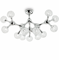 LAMPA SUFITOWA CHROM NOWOCZESNY PLAFON IDEAL LUX NODI CRYSTAL PL15 093512 DESIGNERSKA