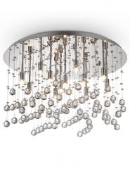 CHROMOWY PLAFON KRYSZTAŁOWY IDEAL LUX  MOONLIGHT PL12 077802 CHROM LAMPA KRYSZTAŁOWA GLAMOUR