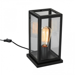 CZARNA LAMPA STOŁOWA NOCNA VINTAGE ITALUX LAVERNO MT-202621-1-B