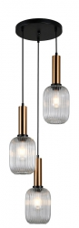 NOWOCZESNA SZKLANA LAMPA WISZĄCA ITALUX ANTIOLA PND-5588-3AM-BRO+CL DESIGNERSKA LOFT