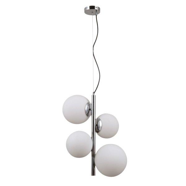 DESIGNERSKA LAMPA WISZĄCA CHROM BIAŁE KULE ITALUX RIGA PND-44213-4B-CH NOWOCZESNA LAMPA DO SALONU