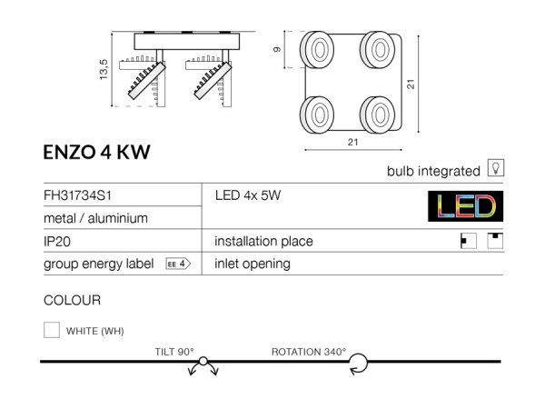 LAMPA PLAFON SUFITOWY AZZARDO ENZO 4KW FH31734S1