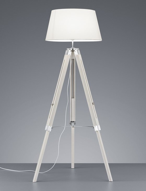 DREWNIANA LAMPA PODŁOGOWA NA STATYWIE Z ABAŻUREM SZARA LAMPA NA TRÓJNOGU