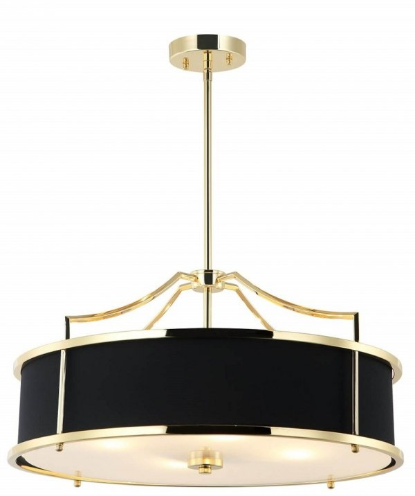 ZŁOTA LAMPA WISZĄCA Z CZARNYM ABAŻUREM GLAMOUR ORLICKI DESIGN STANZA GOLD/ NERO M W NOWOJORSKIM STYLU