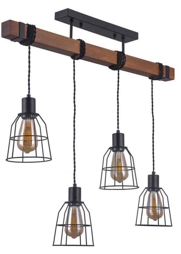 INDUSTRIALNA LAMPA WISZĄCA DREWNIANA BELKA ITALUX REDA PND-4793-4-L