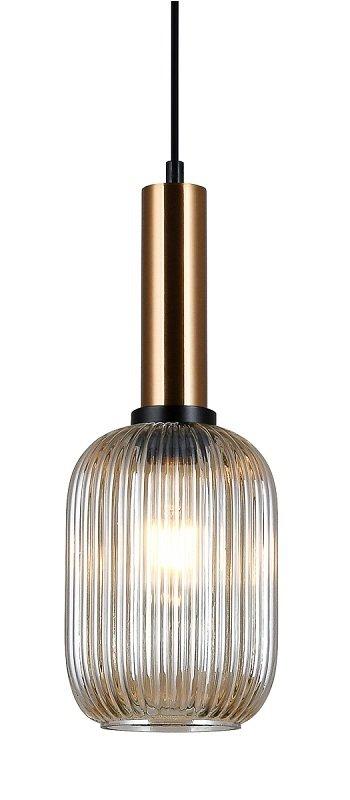 NOWOCZESNA SZKLANA LAMPA WISZĄCA ITALUX ANTIOLA PND 5588 1M BRO+AMB DESIGNERSKA LOFT