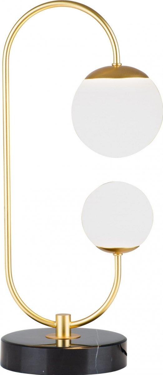ZŁOTA LAMPA STOŁOWA Z BIAŁYMI KULAMI MAXLIGHT TORO T0041 LAMPKA NOCNA GLAMOUR