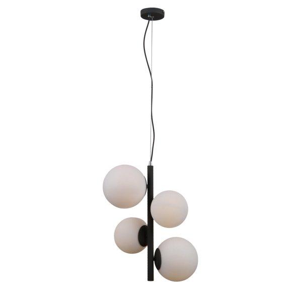 DESIGNERSKA CZARNA LAMPA WISZĄCA BIAŁE KULE ITALUX RIGA PND-44213-4A-SBL NOWOCZESNA LAMPA DO SALONU