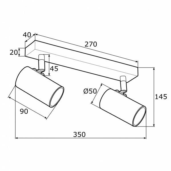LAMPA SUFITOWA SPOT REFLEKTOR CZARNO-ZLOTY GU10 ARGON LAGOS 891 KINKIET REGULOWANY