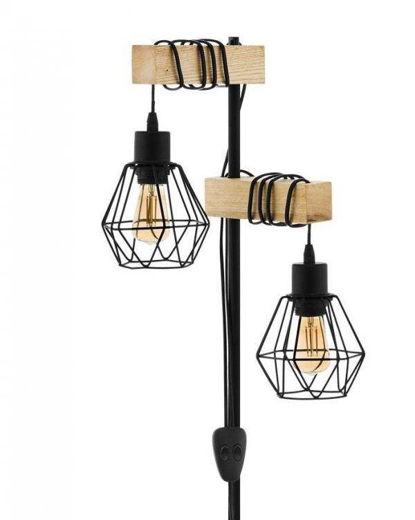 DREWNIANA LAMPA PODŁOGOWA EGLO TOWNSHEND 43137 LOFT VINTAGE