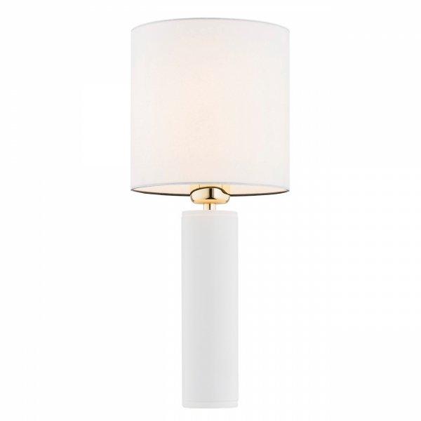 BIAŁA ELEGANCKA LAMPKA NOCNA GLAMOUR ALMADA 4231 BIAŁY ABAŻUR, WYKOŃCZENIE W KOLORZE ZŁOTYM