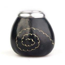 Calabaza Espiral Negra - Tykwa do yerba mate - Czarna z wzorem