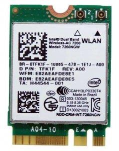 Intel Dual Band Wireless-AC 7260 NGW 802.11ac Dual Band 2x2 Wi-Fi + Bluetooth 4.0