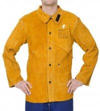 WELDAS-Golden Brown™ skórzana kurtka spawalnicza z dwoiny bydlęcej z plecami z trudnopalnej bawełny 44-2530P/XXXL