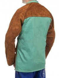 WELDAS-Lava Brown™ skórzana kurtka spawalnicza z dwoiny bydlęcej z plecami z trudnopalnej bawełny 44-7300/P M