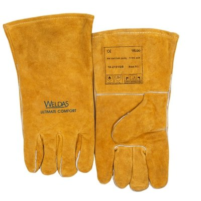 WELDAS-Kciuk chowany, ekonomiczna rękawica spawalnicza Golden Brown™ rękawica z dwoiny bydlęcej z ramienia 10-2101GB (XL)