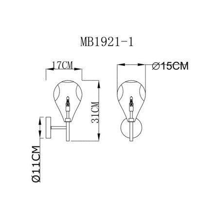 LAMPA WEWNĘTRZNA (KINKIET) ZUMA LINE BASTONI WALL LAMP MB1921-1-CLEAR Zuma Line
