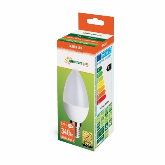 Żarówka świeczka LED 4W E14 barwa ciepła 3000K 320lm 230V SPECTRUMLED WOJ+13035