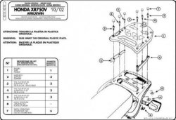 KAPPA K210 stelaż kufra centralnego Honda XRV 750 (93-02)