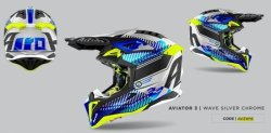 KASK AIROH AVIATOR 3 WAVE SILVER GLOSS S