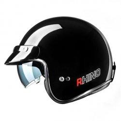 RHINO Jet City kask motocyklowy otwarty czarny połysk
