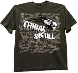 Blackbird tribal skull koszulka army green