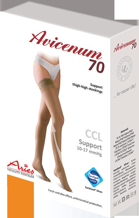 ARIES Pończochy profilaktyczne z koronką samonośną Avicenum 70 (10 - 17 mmHg)