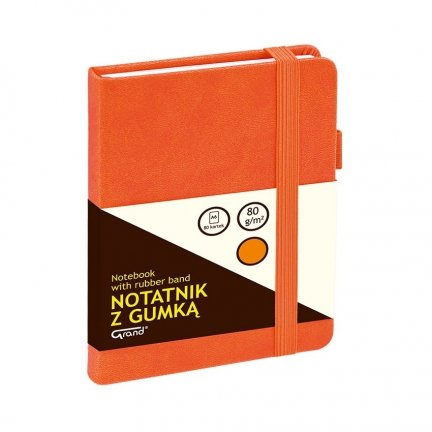 NOTATNIK NOTES Grand z gumką A6 w kratkę ORANGE