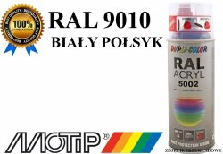 MOTIP lakier farba biały połysk 400 ml akrylowy acryl szybkoschnący RAL 9010