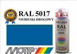 Lakier farba niebieski drogowy połysk 400 ml akrylowy acryl szybkoschnący RAL 5017