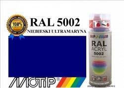MOTIP lakier farba niebieski ultramaryna połysk 400 ml akrylowy acryl szybkoschnący RAL 5002