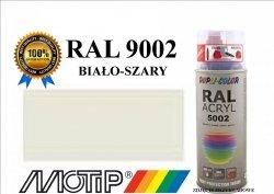 Lakier farba biało szary połysk 400 ml akrylowy acryl szybkoschnący RAL 9002