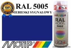 MOTIP lakier farba niebieski sygnałowy połysk 400 ml akrylowy acryl szybkoschnący RAL 5005