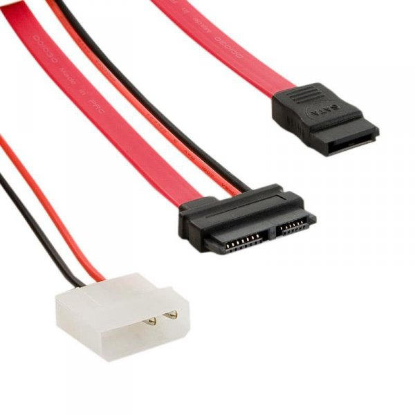 4World Kabel HDD | SATA 3 | 13pin Slimline SATA (F) - 7pin SATA (F) & LP4 | 30cm