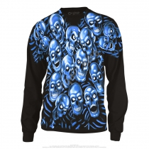 Skull Pile Blue Long Sleeve  - Liquid Blue