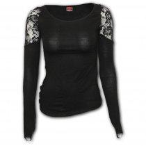 Gothic Elegance - Shoulder Lace Top Spiral - Damska