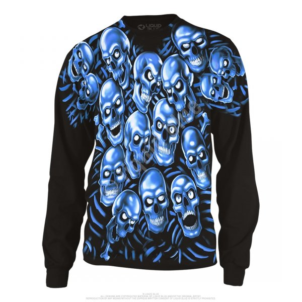 Skull Pile Blue Long Sleeve  - Liquid Blue