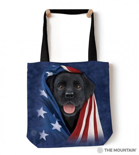 Patriotic Black Lab Pup - Taška - The Mountain