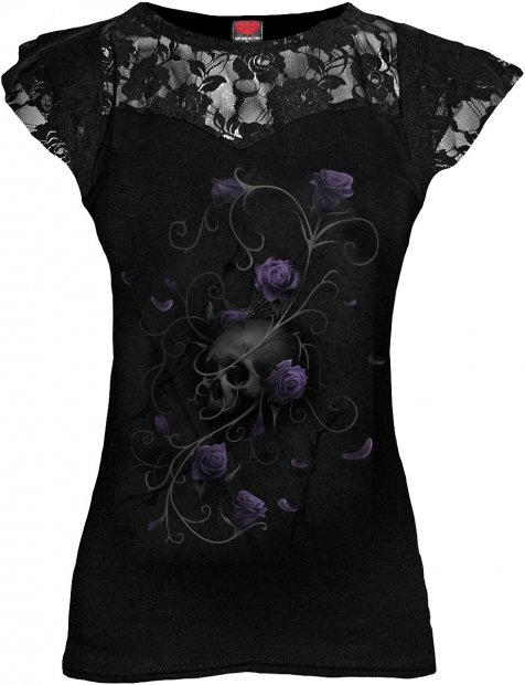 Entwined Skull - Lace Sleeve Top - Spiral