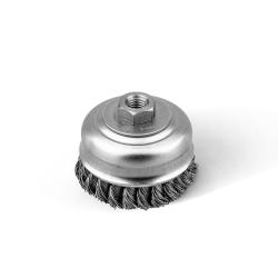 Szczotka doczołowa FI 80 nakrętka M14 splatana stalowa (026-ESI)