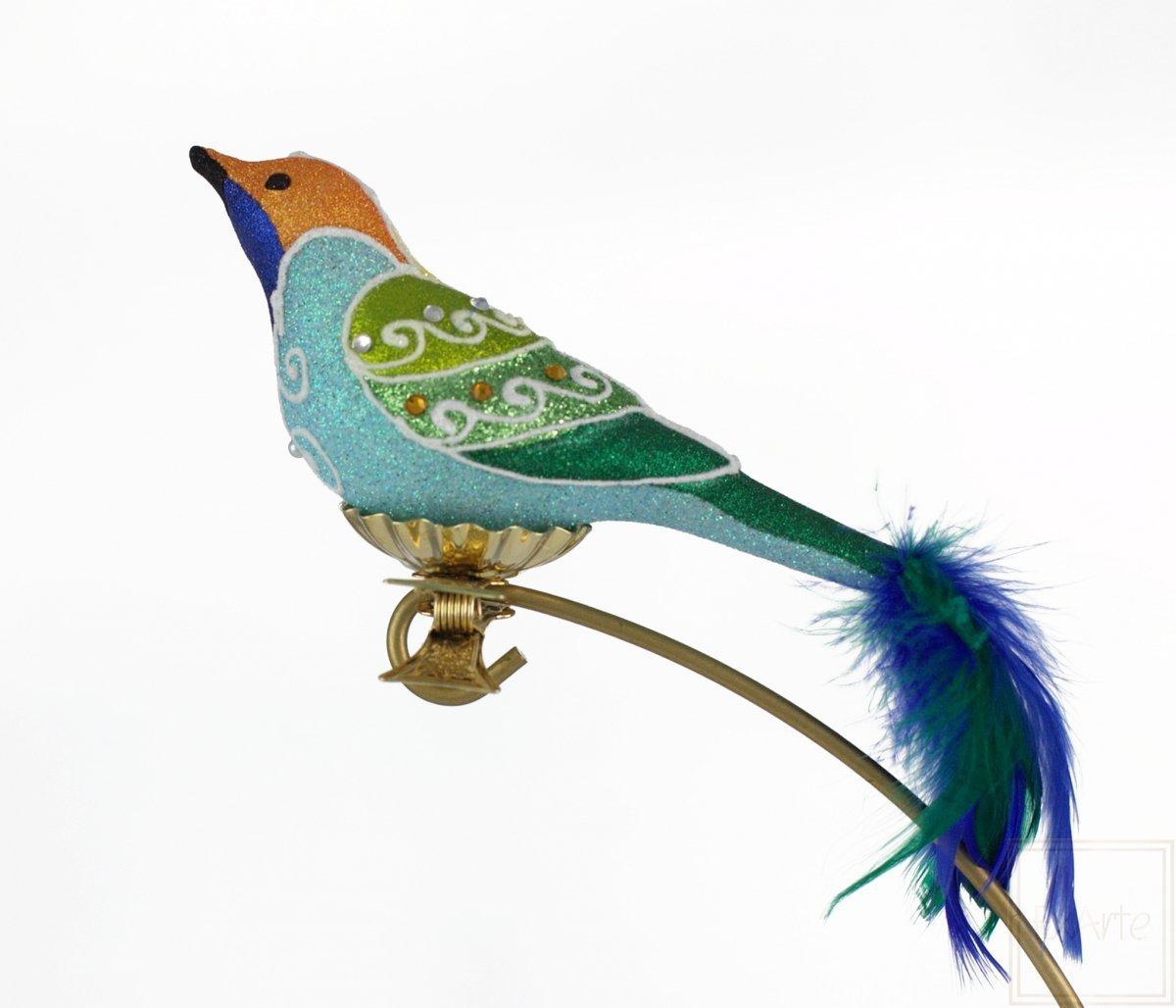 Vogel mit blauen Federn - 9cm -