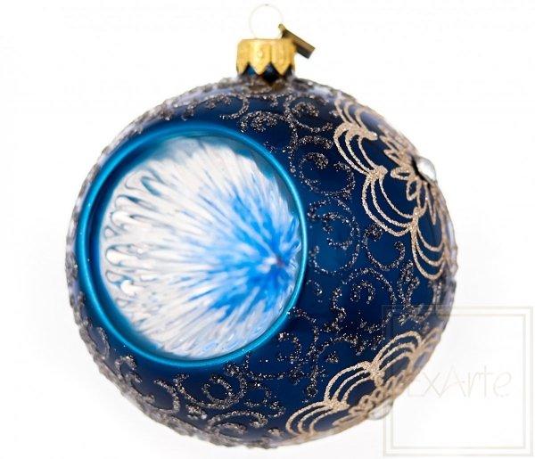 Weihnachtskugel mit Reflektor 10 cm - Marineblau