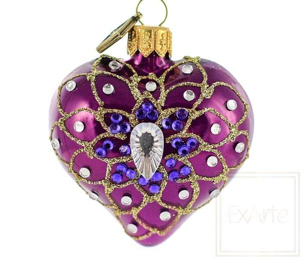fioletowe serce bombka świąteczna