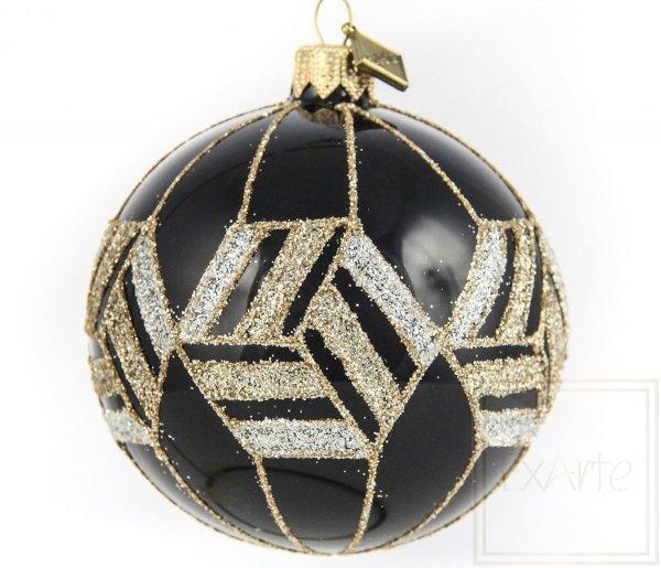 szklana bombka kula czarno-złota glamour / Ball von 8cm - Gold von Ägypten