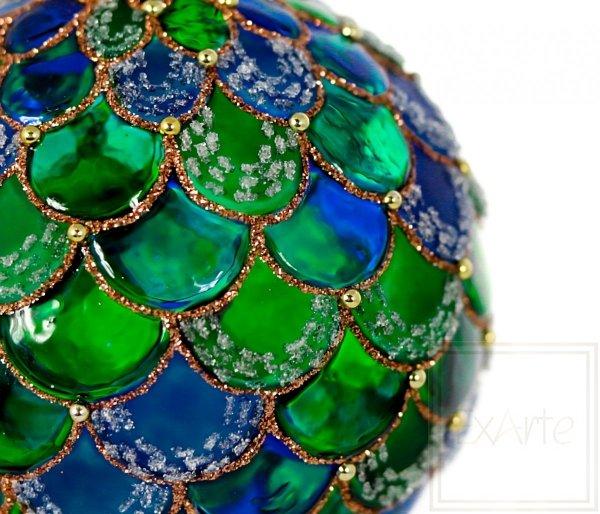 Kugel 10 cm - Smaragdwellen