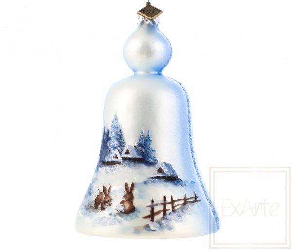 pejzaż z zajączkami bombka bożonarodzeniowa