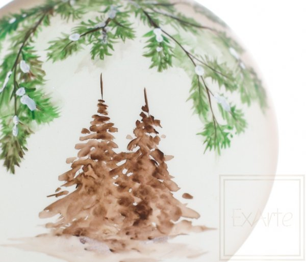 bombki ręcznie malowane zimowe drzewa